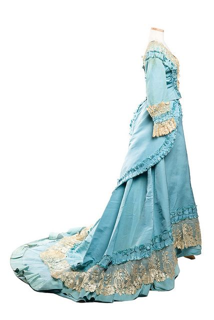 Silk faille dress, 1870s, Mme. Gabrielle Sky blue silk faille dress, 1870s, designed and labeled by Mme. Gabrielle / Robes & Confections / 205 Rue St. Honoré in Paris.