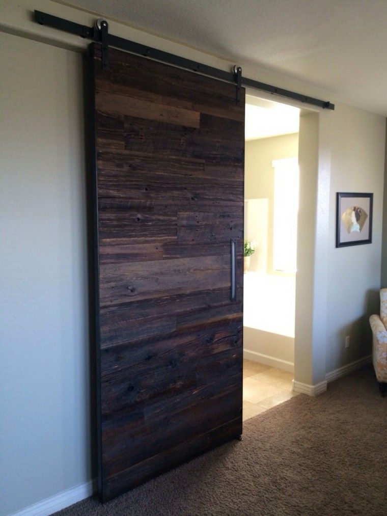 Puertas correderas de madera para el cuarto de baño Industrial - puertas de madera para bao