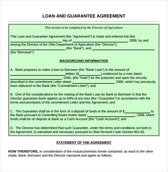 Guarantee Loan Agreement Form Template , 26+ Great Loan Agreement - loan agreement sample letter