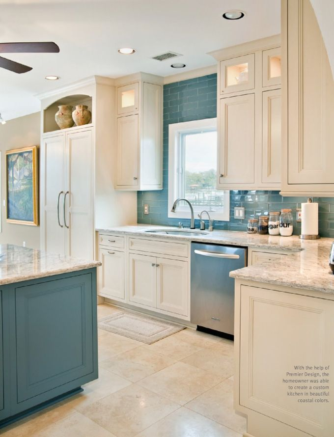 Love The White Cabinets Blue Island Subway Tile Backsplash