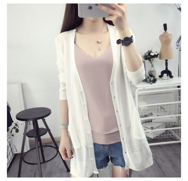 CW44059 Summer air conditioning sweater long cardigan for women
