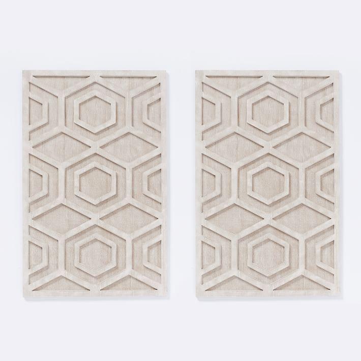 Graphic Wood Wall Art Whitewashed Hexagon Set Of 2 Wood Wall Art Carved Wood Wall Art Tapestry Wall Art