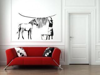 Banksy Graffiti Washed Zebra Stripes Large Vinyl Wall Stickers