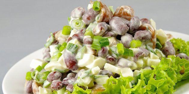 Салат с фасолью, маринованными грибами и яйцами | Идеи для ...