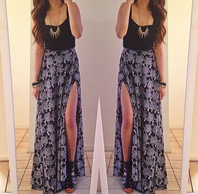 crop top with maxi skirt tumblr Google Search | Skirt