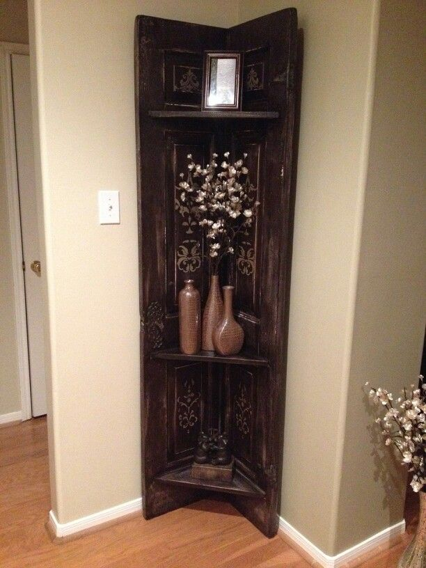 Old Solid Wood Door Repurposed Into Corner Shelf I Want To Make This A Christmas Gift