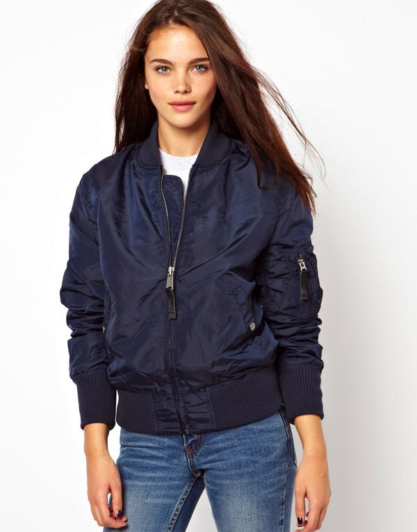 Navy Bomber Jacket Womens - Pl Jackets
