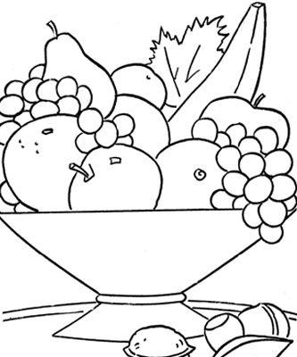 printable fruit basket on the table coloring pages kids - Nutrition Coloring Pages Kids