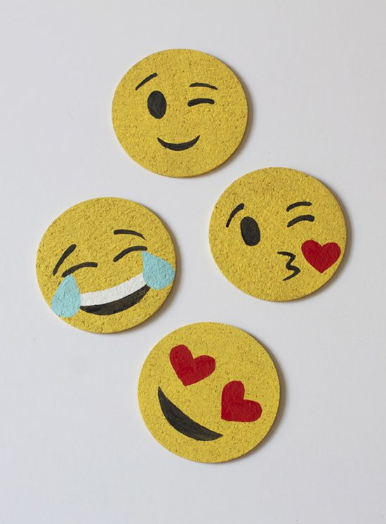 DIY Cork Emoji Coasters by athomeinlove #DIY #emoji