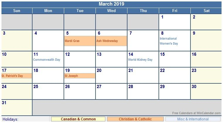 March 2019 Calendar With Holidays Us Uk Canada India Australia