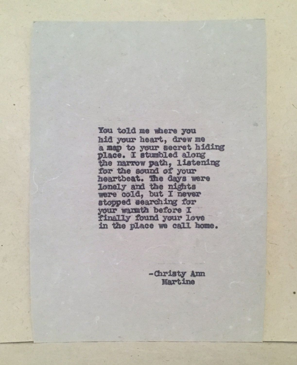 Anniversary Gifts For Men And Women Typed Love Poems By