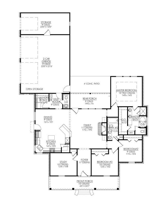 653325 Stunning 3 Bedroom Open House Plan with Study Plans Floor