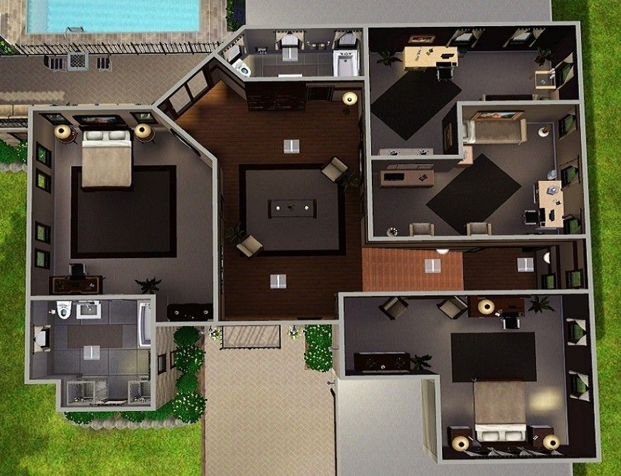 Tracy Reid Tracyreidcw7 Sims 3 Houses Plans Modern House Floor Plans House Blueprints