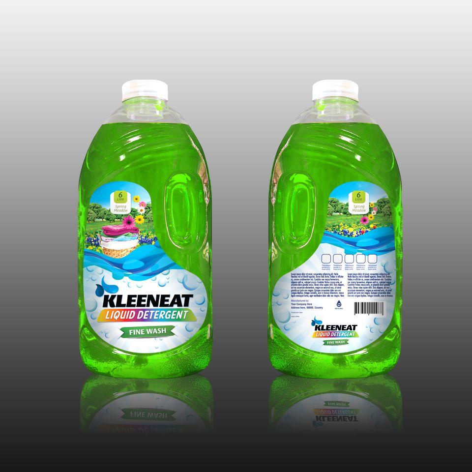 Kleeneat Liquid Detergent Label Design Fine Wash Scent