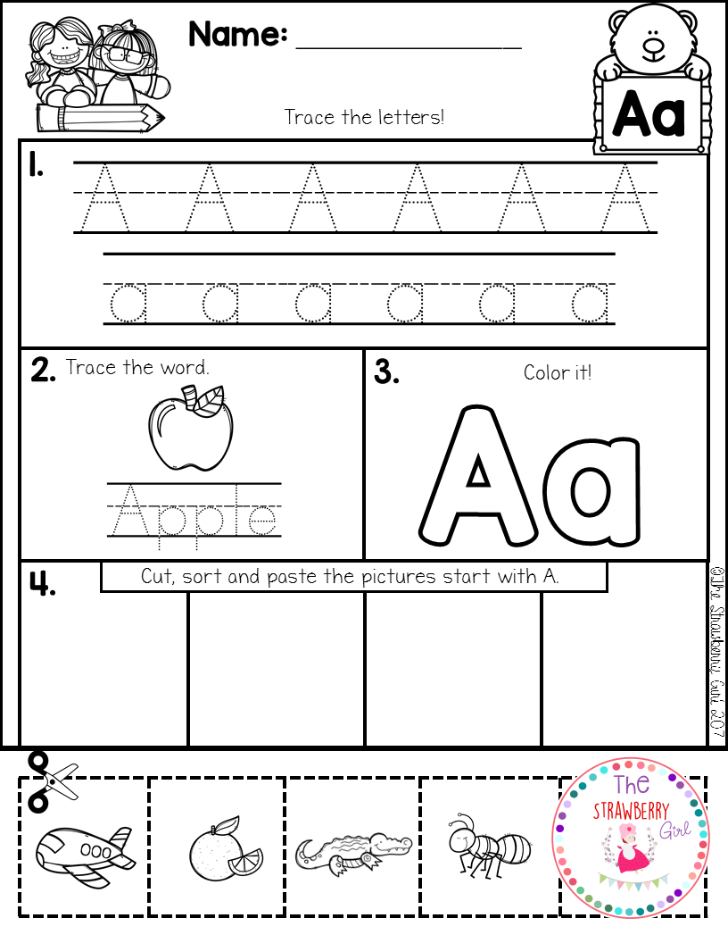 Alphabet Practice Cut and Paste. Preschool Letter WorksheetsKindergarten ...