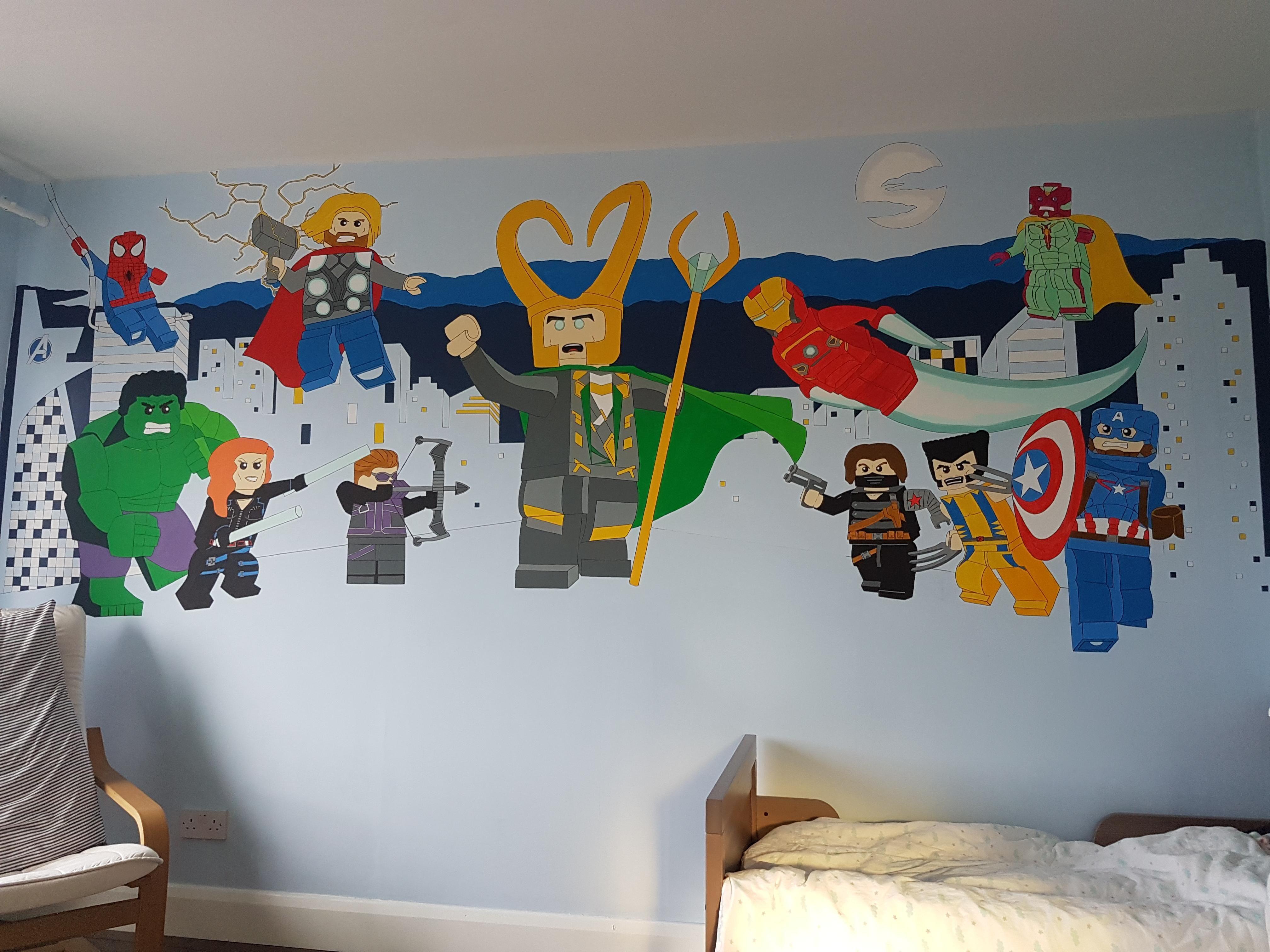 Lego Marvel Bedroom Mural With Images Marvel Bedroom Bedroom