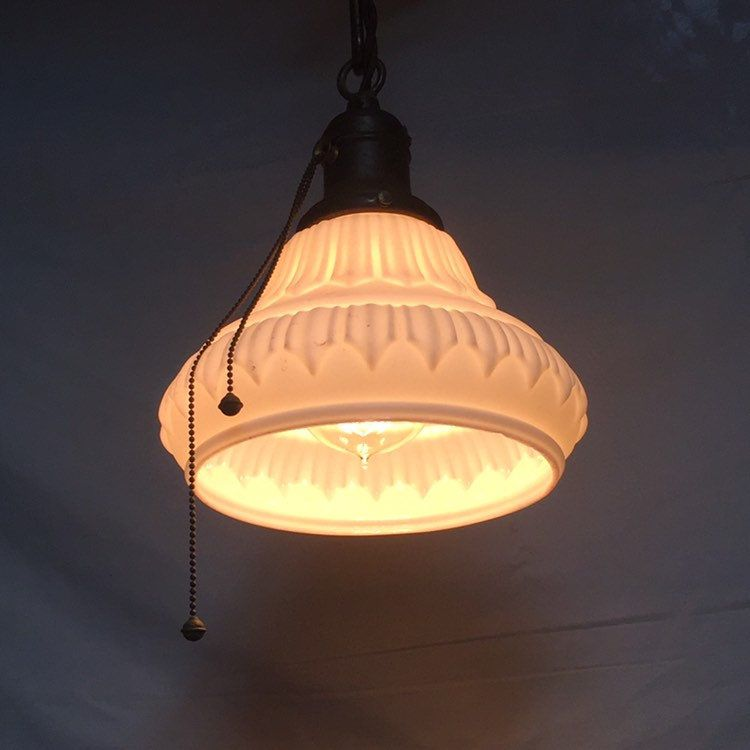 Antique 1920 S Hanging White Milk Glass Pendant Light With Pull Chain Dimmer Socket Canopy And New Wiring Glass Pendant Light White Milk Glass Milk Glass