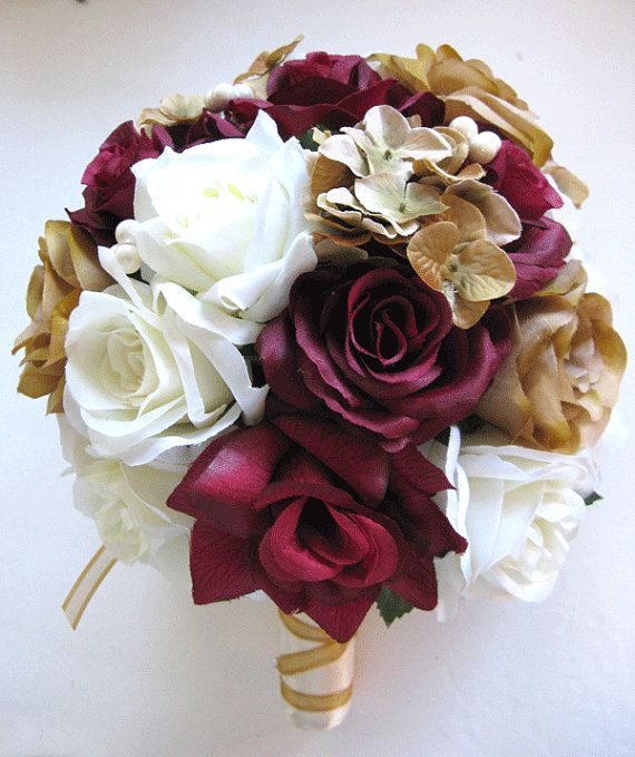 Free Shipping 17 Pcs Wedding Silk Flower Bouquet By Rosesanddreams