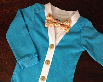 870ad575e1b Baby Cardigan One Piece Bow Tie Set Khaki Green Infant by ColbyAve ...