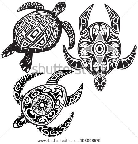 d38c9af70 Vector illustration of turtles in maori tattoo style | Art ...
