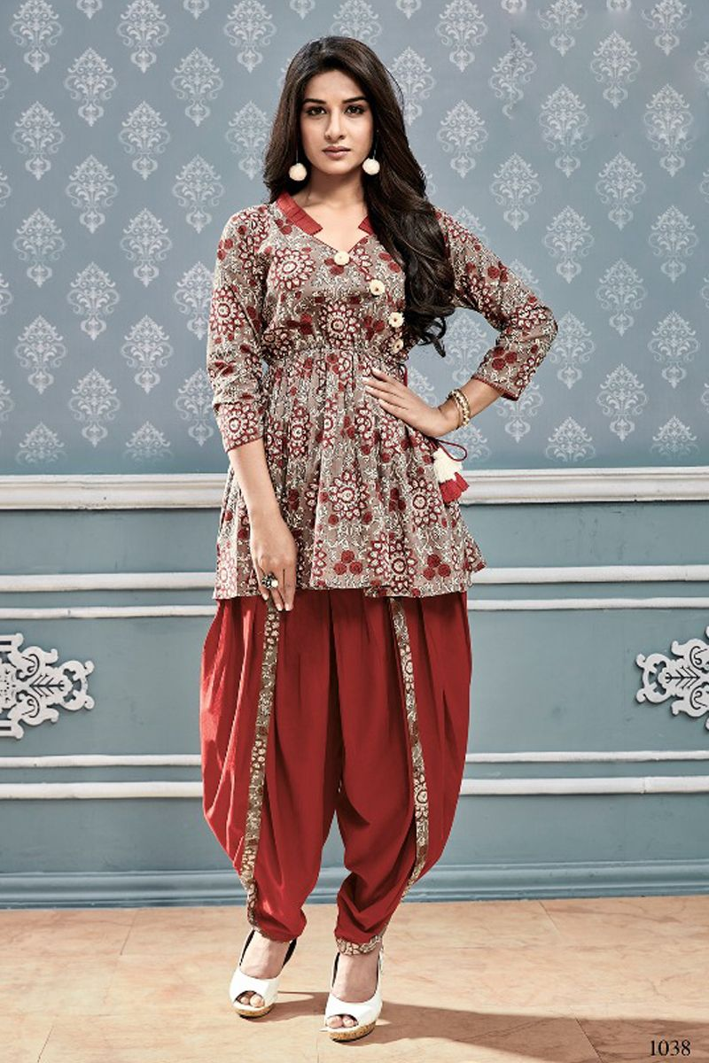 5c886317113d Wholesale Stylish Casual Wear Printed Cotton Short Kurti With Dhoti