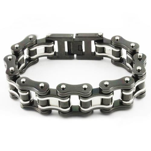 """3/4"""" Wide Double Black & Silver Bike Chain Bracelet. Buy Double Black & Silver Bike Chain Bracelet online for the best price of $42.95."""