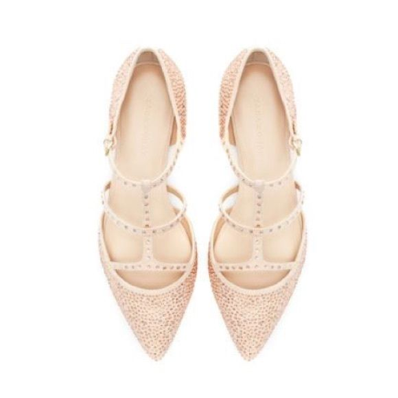 e97d3fd057de Zara shiny pointed ballerina flats Great condition worn once. One missing  stone see fourth photo. Nude pink color. Bling rhinestones Zara Shoes Flats    ...