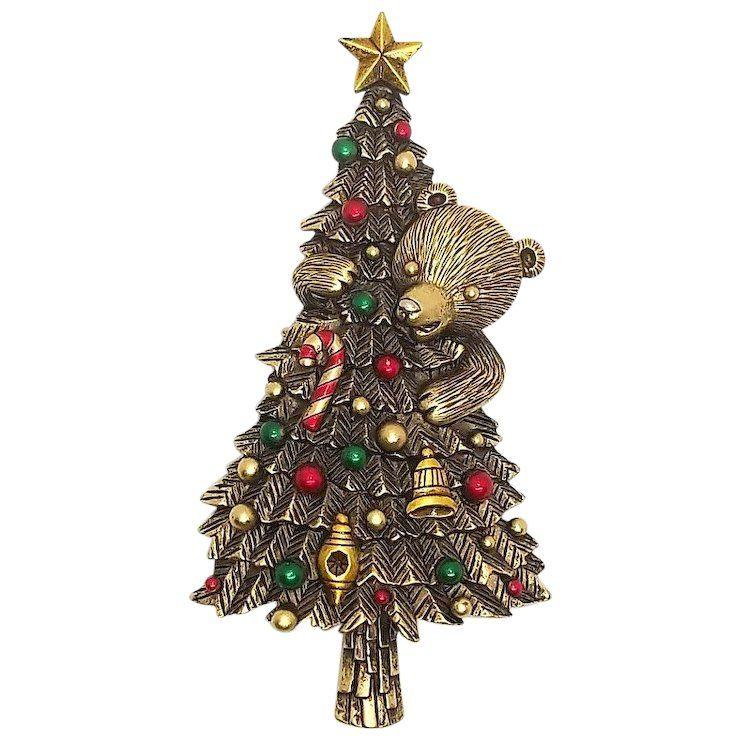 Christmas Tree And Bear Jj Vintage Pin Dollherup Ruby Lane Christmas Jewelry Vintage Pins Vintage
