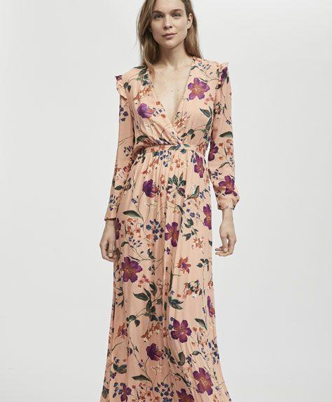 b7676245c0 Długa sukienka w kwiaty w botanicznym stylu - 0