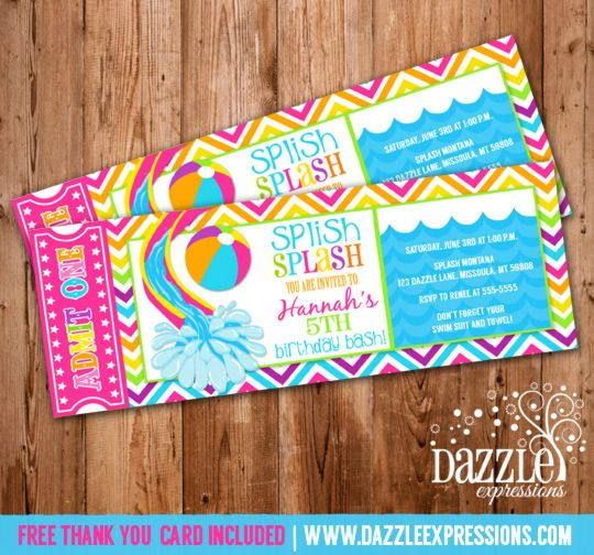 Printable Girl Water Slide Ticket Birthday Invitation – Pool Party Invitations for Girls