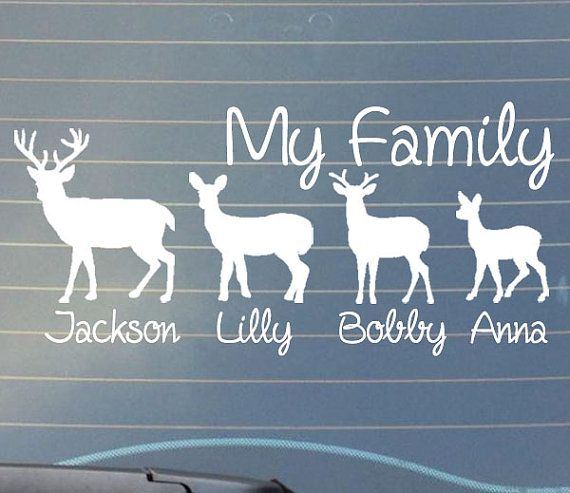 Deer Family Car Window Decal Country Decal With Names My Etsy Deer Family Window Decals Car Window Decals
