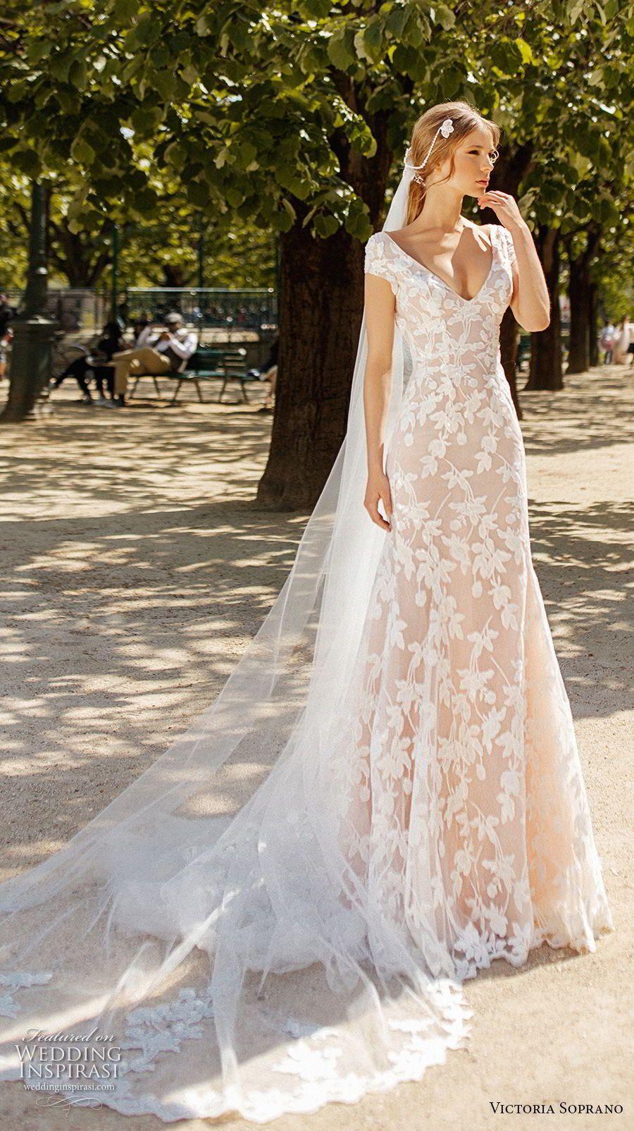 Victoria soprano bridal cap sleeves v neck full embellishment
