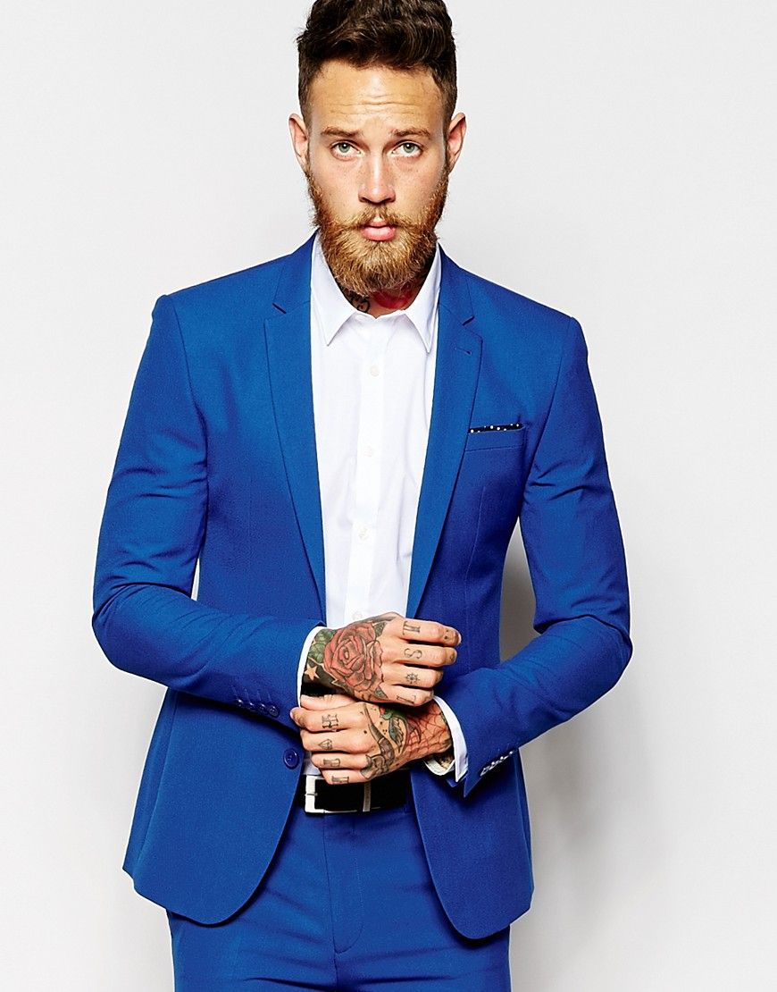 ASOS Super Skinny Suit Jacket In Blue. Extra points for the ...