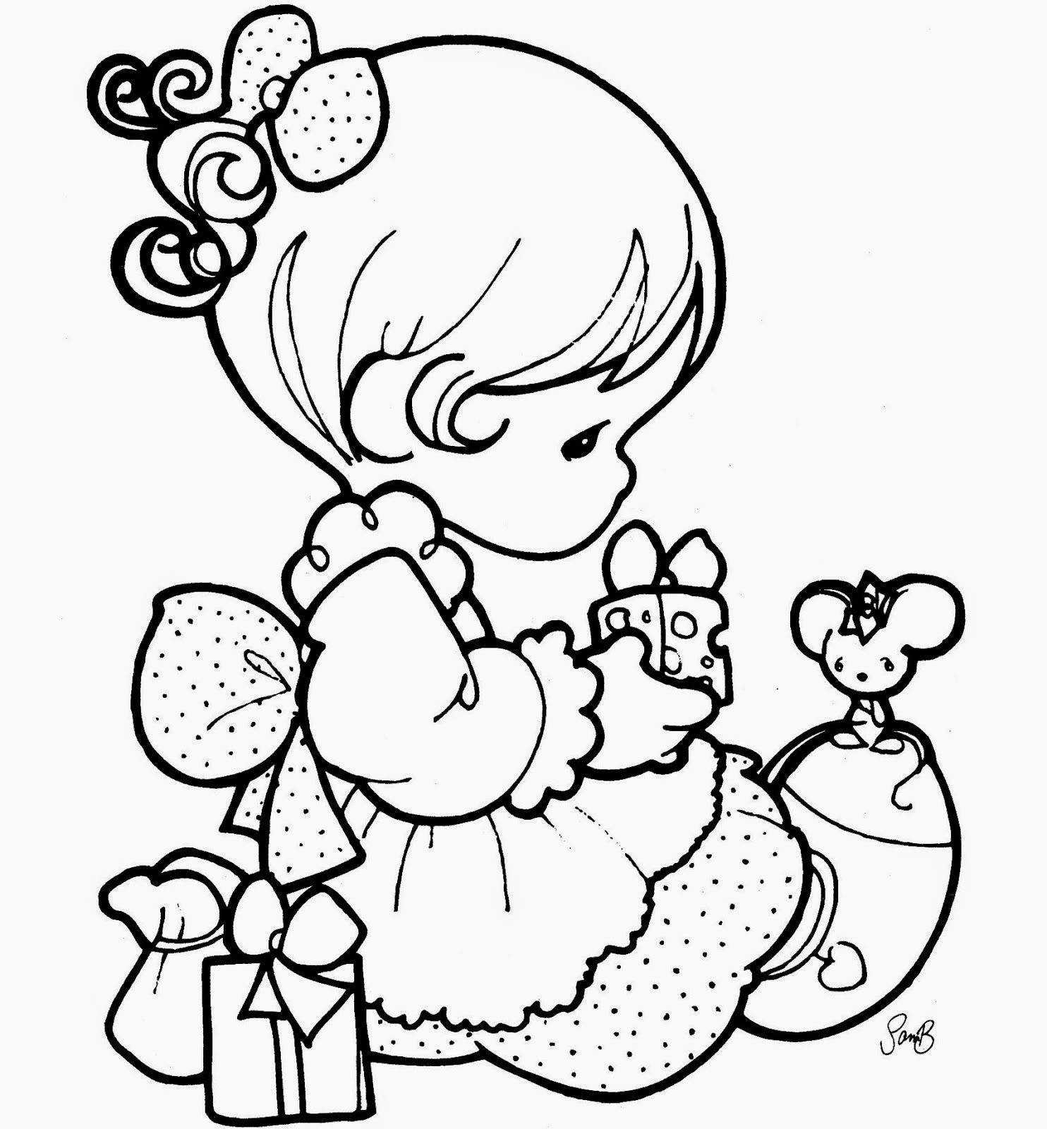 Beautiful Precious Moments Girl Coloring Page For Kids Of