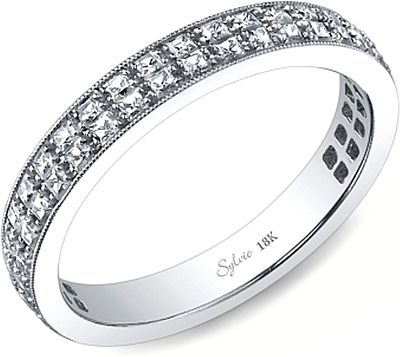 Sylvie Double Row Princess Cut Diamond Wedding Band This By Features