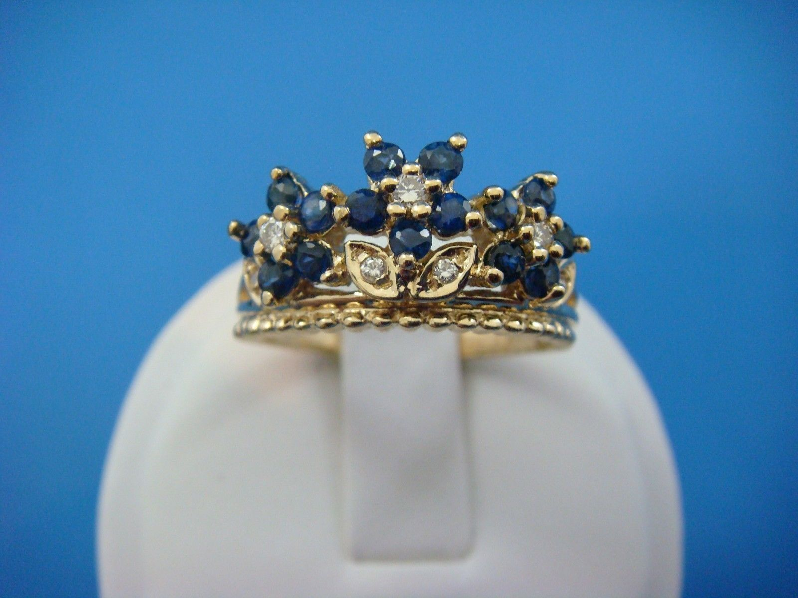 14k yellow gold sapphires and diamonds flower crown ladies