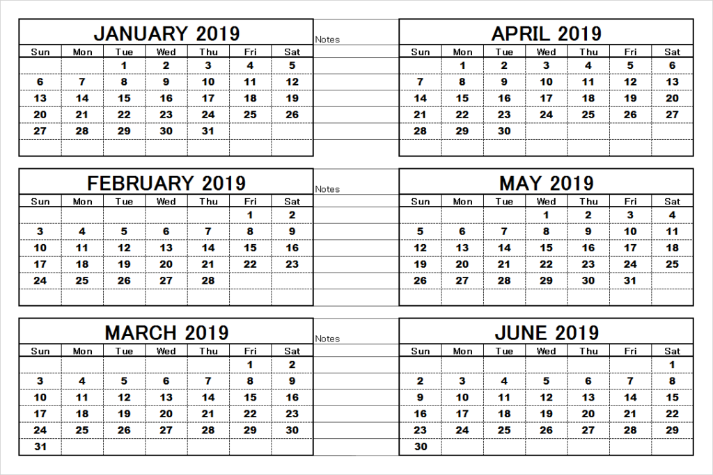 6 Month Calendar 2019 6 month 2019 calendar | 2019 Calendars | 2019 calendar, Calendar