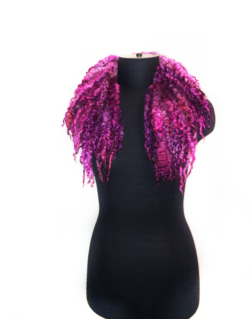 Hand dyed felted scarf collar