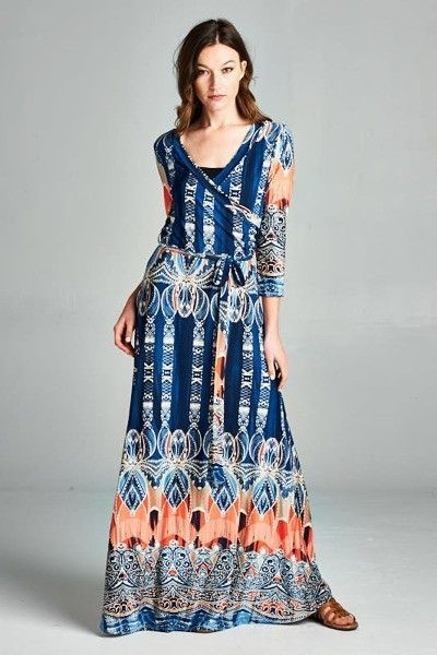 Anika 3/4 Slv Maxi Dress