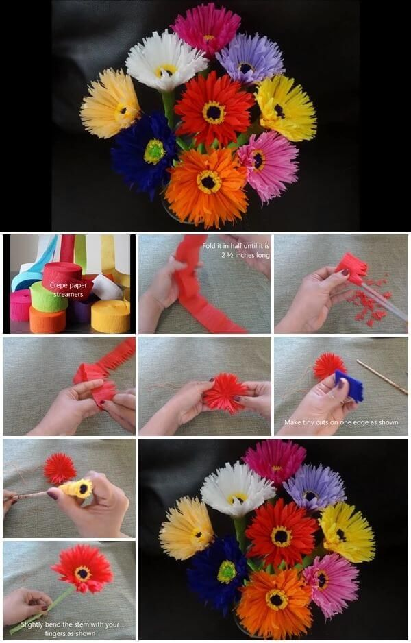 how-to-make-paper-flowers-out-of-crepe-streamers #easypaperflowers