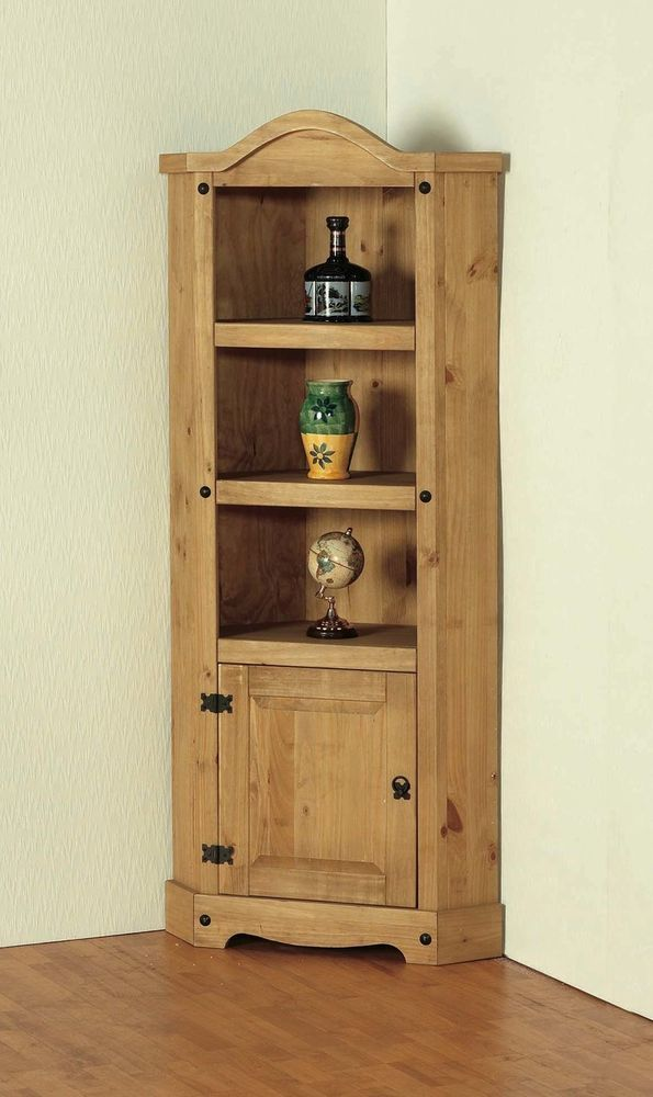 Corner Display Cabinet Pine Traditional Hallway Shelves Door Living Room  Kitchen