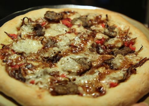 Eggplant & Roasted Red Pepper Pizza with a Balsamic Glaze