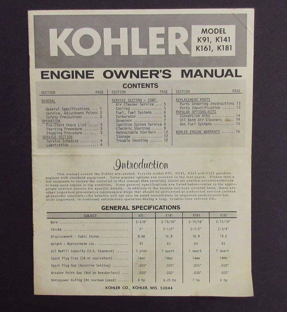 Kohler Engine Owners Manual That Covers Air Cooled 4 Cycle K91 Schematics Gasoline Engines With Standard Equipment Models K141 K161 K181