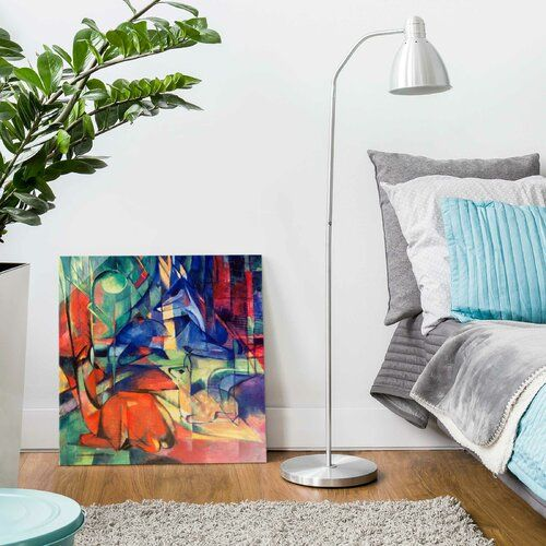 'Deer in the Forest II' by Franz Marc Painting on Glass East Urban Home Size: 30 cm H x 30 cm W