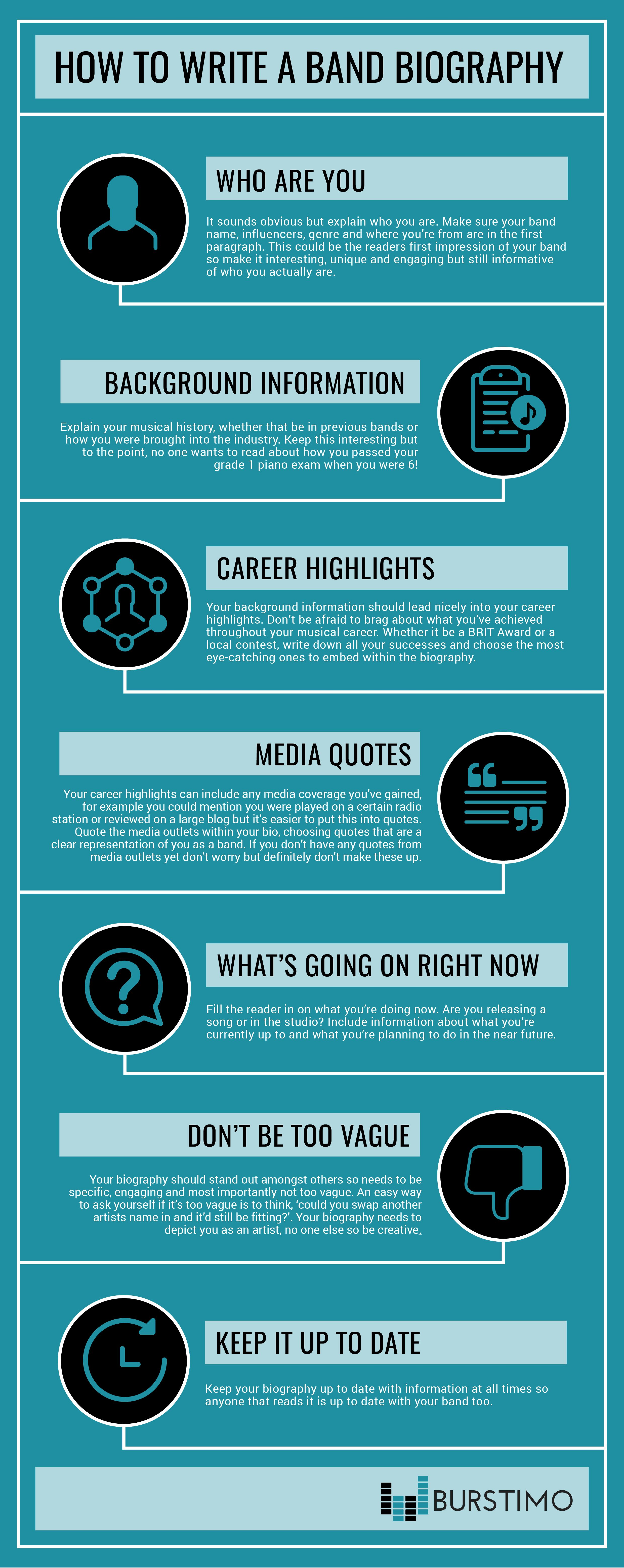 How To Write A Great Band Bio Infographic Hypebot Artist Bio Biography Artist Biography