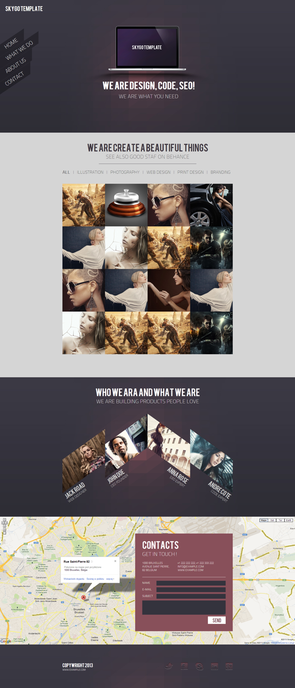 Skygo One Page HTML Template on Behance | [UX/UI] Web | Pinterest ...
