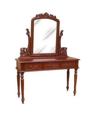 Coiffeuse style anglais victorien en acajou massif avec miroir - meuble coiffeuse avec miroir pas cher