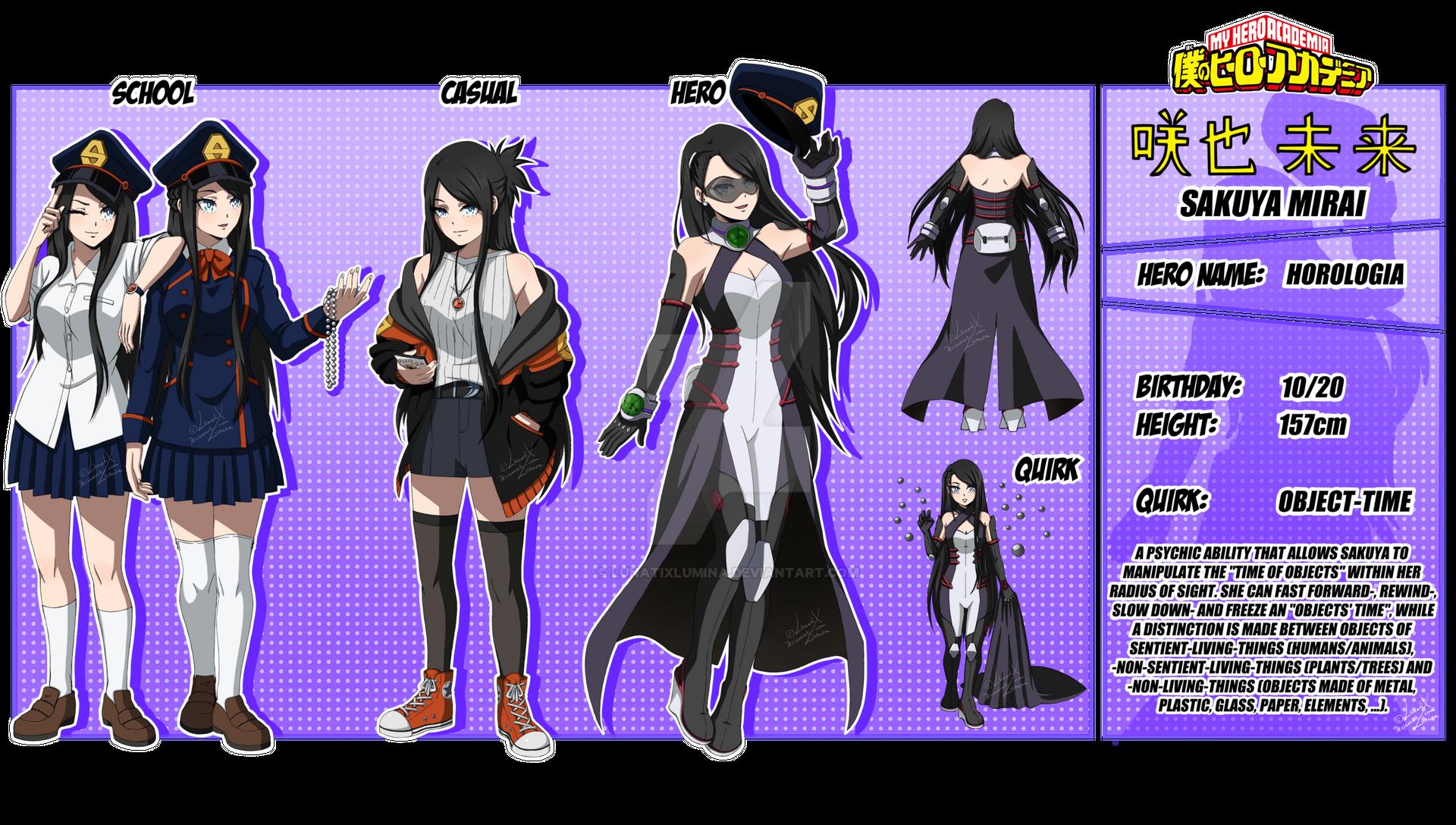 Bnha Oc Sakuya Mirai By Lunatixlumina On Deviantart In 2020 Hero Hero Costumes Hero Academia Characters