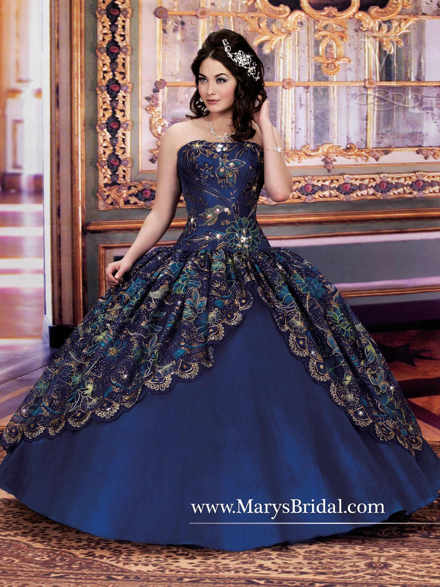583a572bbf7 MY FAVORITE! Royal blue organza Quinceanera -Mary s Bridal Gowns ...
