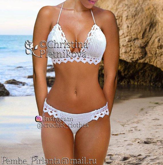 6f7bc1683bea2 Bikini Crochet white Honeymoon swimsuit island sea wedding bathing suit  swimwear top and bottom